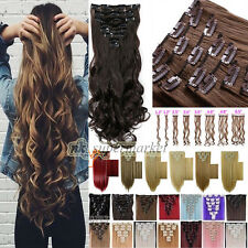 US Luxury Clip In Hair Extensions Synthetic Full Head Look As Remy Human Hair @