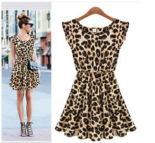 Women Fashion Sexy Dress Leopard Casual Evening Cocktail Party Mini Summer Dress