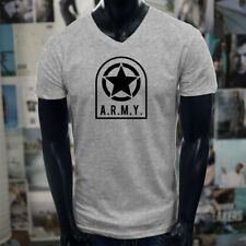 ARMY STAR PATCH NAVY ARMED FORCES MILITARY MARINE Mens Gray V-Neck T-Shirt