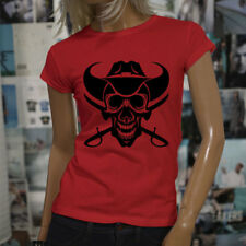 COWBOY SKULL WESTERN COUNTRY EVIL DEAD SWORDS Womens Red T-Shirt