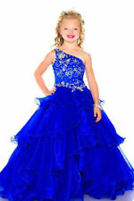 One Shoulder Royal Blue Girls Pageant Dress Kids Birthday Formal Ball Gown Stock