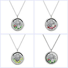 Family Tree Love Heart Round Crystals Floating Locket Charm Necklace Pendant