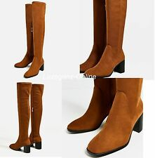ZARA STRETCH HIGH HEEL OVER-THE-KNEE BOOTS Shoes Round Toe Block Heels New Ladie