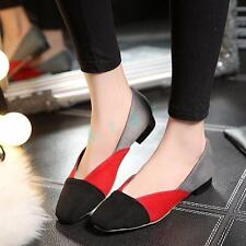 Hot Womens Suede Stitching Colors Shoes Flats Heels Ballet Flats US Size 5-12.5