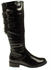 WOMENS FLAT RIDING MID CALF BLACK PATENT FAUX FUR BOOTS UK SIZES 3-8