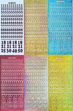NUMBERS 12mm (1.2cm) Holographic Diamond Shimmer PEEL OFF STICKERS 18 21 25 50
