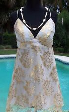Cache $158 GOLD METALLIC SILK SHEER ILLUSION LACE Top DRESS NWT S/M 2/4/6/8/10