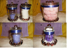 Yankee Lilac Candle & Jeweled Glass Jar Purple Beaded 3 PC Ribbon #1 #2 #7 New