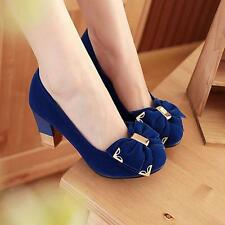 Lady Mid Block Heel Mary Jane Round Toe Pumps Bowknot Court Shoes Pumps Chunky J