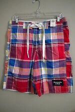 NWT ABERCROMBIE & FITCH Men's Swim Shorts SMALL Red Plaid #57499