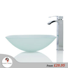 Bathroom Frosted Glass Square Wash basin / Sink - 42cm + Free Waste