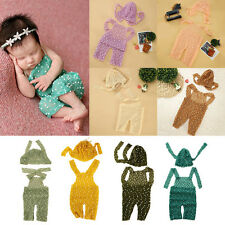 Newborn Baby Girls Boys Crochet Knit Romper Hat Costume Photo Prop Outfits 0-6M