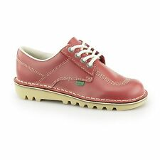 Kickers KICK LO Ladies Womens Casual Lace Up Durable Low Top Leather Shoes Red