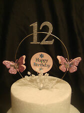 dusky pink  glitter butterfly pearl  spray any age  birthday cake topper