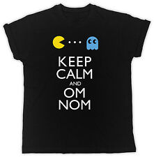 FUNNY KEEP CALM AND OM NOM PACMAN IDEAL GIFT PRESENT COOL FUNNY MEN BLACK TSHIRT