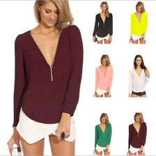 Sexy Women Deep V Neck Plunge Chiffon Long Sleeve Solid T Shirt Blouse Tops Tee