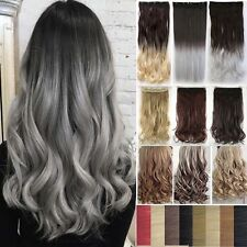 3/4 Full Head Straight Curly Wavy Clip in Dip dye Ombre Hair Extensions UK @_@