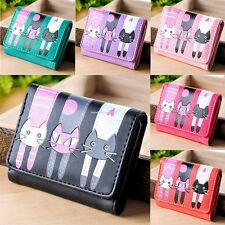 Women's Ladies Cat Pattern Coin Purse Clutch Leather Short Wallet Card Holders