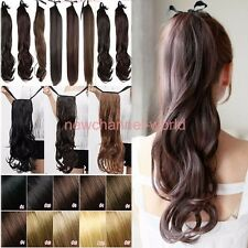 US Thick Drawstring Ponytail Clip in Pony Tail as human Hair Extensions Tie Up