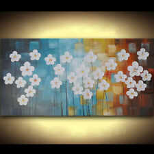 White Flowers Landscape Oil Painting Abstract Wall Art Modern PaletteBlue Canvas