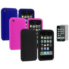 For Apple iPhone 3G 3GS Color Silicone Rubber Gel Case Cover+3X LCD Protector