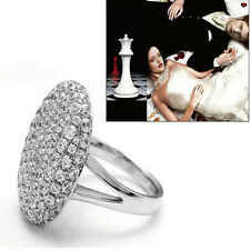 Best Silver Ring Alloy Crystal Jewelry Size 6-13 Womans Wedding Party Engagement