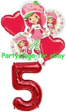 STRAWBERRY SHORTCAKE 5TH BIRTHDAY PARTY BALLOONS BOUQUET DECORATIONS SUPPLIES