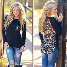 Sexy Womens Ladies Long Sleeve Leopard Chiffon Blouse Shirt Tops T-Shirt New b87