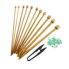 Bamboo Wood Crochet Hooks Sets Carbonized Brown - 11 sizes 3mm - 10mm