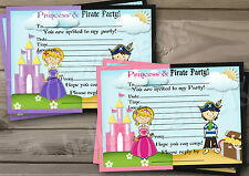 1-10 PERSONALISED PRINCESS & PIRATE BIRTHDAY PARTY INVITATIONS,THANK YOU CARDS