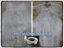 New Baby Girls Christening/Baptism Dress White W Tail  Virgen de Guadalupe 00-6