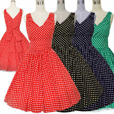 50'S 60'S  VINTAGE POLKA DOT AUDREY HEPBURN PARTY SWING PINUP ROCKABILLY DRESS