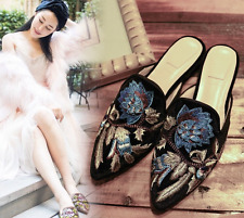 NEW Ladies Womens Pointed Toe Floral Embroidery Velvet Slipper Mule Shoes Size