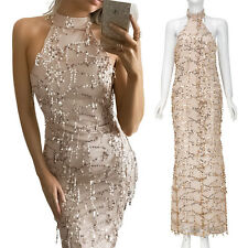 Elegant Women Sequins Tassel Bodycon Dress Evening Party Prom Long Maxi Dresses