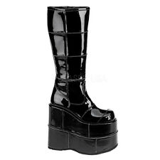 DEMONIA Stack 301 Ladies Black Patent Punk Goth Wedge Platform Hell Vegan Boots