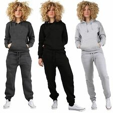Womens Plain TRACKSUIT Pull Over Hooded top Full Length Ladies Bottom Sizes 8-24