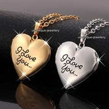 Unique Valentines Gifts For Her - Rose Gold & Silver Locket Heart Necklaces Love