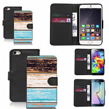 faux leather wallet case for many Mobile phones - woody pattern