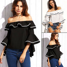 Sexy Womens Off Shoulder Flared Ruffle Sleeve Loose Casual T Shirt Blouse Tops