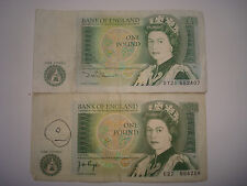 TWO OLD BANK OF ENGLAND ONE POUND £1 NOTES