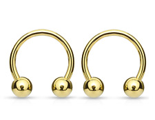 2PCS 16G 14G Gold Plated Horseshoe Circular Barbell Septum Lip Earring with Ball