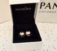 PAIR OF GENUINE PANDORA ROSE GOLD SIGNATURE LOGO CLIPS 781015 WITH CHARM BOX NEW