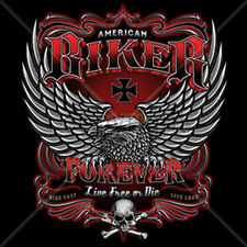 American Biker Forever Iron Cross Skull Wings Motorcycle Chopper T-Shirt Tee