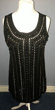 TJ Hughes Platinum By Sky Shift Sequin / Beaded Dress 1920's Style Black Box6079