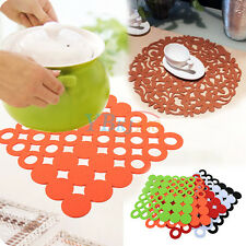 Hollow-out 4/1Pcs Round/Square Felt Placemats Dinner Insulation Table Cup Mats