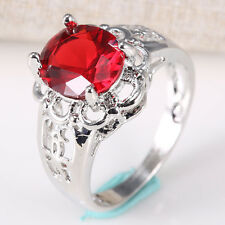 Fashion Jewelry 925 Silver Ruby Gemstone Women Wedding Ring Size 6-10 Topaz
