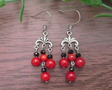 Red CORAL & Black Small Chandelier Vintage Dangle Earrings~Stainless Steel Hooks