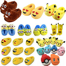 Lovely Emoji Minion 3D Cartoon Soft Plush Slippers Winter Warm Indoor Home Shoes
