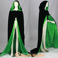 Black Velvet/Green Hooded Cloak Satin Halloween Wedding Cape Wicca LARP Sca