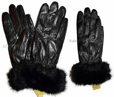 Women's Fur Trimmed leather gloves, Warm Lined Brand New Black Winter Gloves #41